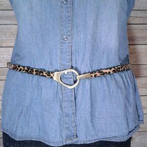 leather leapard print golden loop hook skinny belt